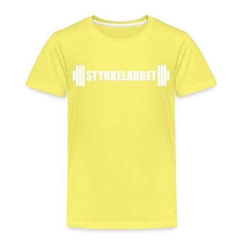 Styrkelabbet vit logotyp - Premium-T-shirt barn