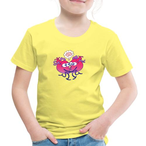 Hearts in love thinking too much when kissing - Kids' Premium T-Shirt