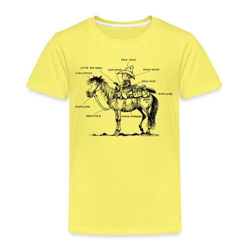 Thelwell Cartoon Bescheribung Westernpferd - Kinder Premium T-Shirt