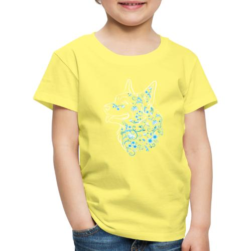 Flower Corgi Blue - Lasten premium t-paita