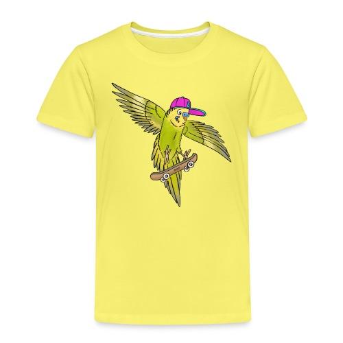 Skateboard Wellensittich (grün, cap neon) - Kinder Premium T-Shirt