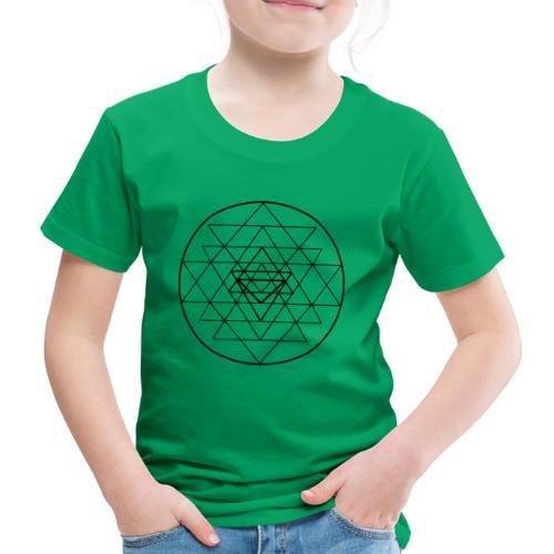 Sri Yantra - black and white - Børne premium T-shirt