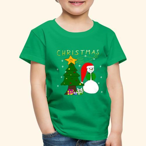 Christmas, Weihnachten, Schneemann, Weihnachtsbaum - Kinder Premium T-Shirt