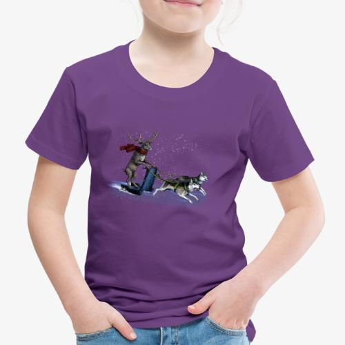 Reindeer sledge pulled by Huskies - Kids' Premium T-Shirt