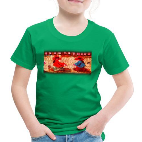 Dos Paisanitas tejiendo telar inca - Kinder Premium T-Shirt