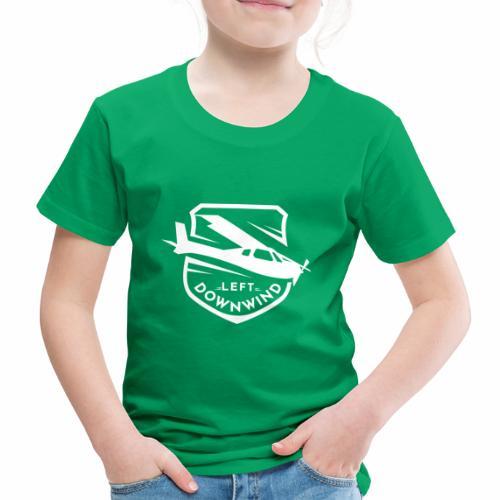 Left Downwind badge logo white - Kids' Premium T-Shirt