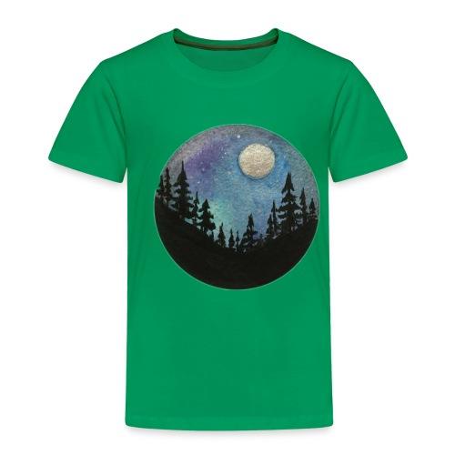Diseño Bosque nocturno con colores y luna llena - Camiseta premium niño