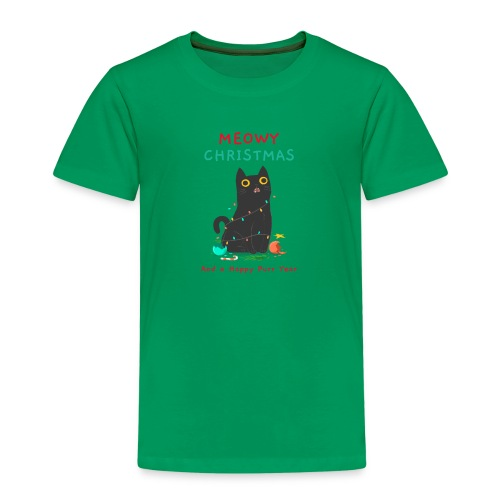 Meowy Christmas ad a Happy Purr year - Kinderen Premium T-shirt