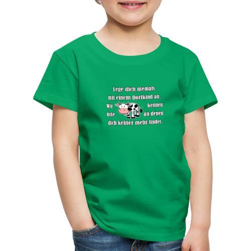 Dorfkind mit Kuh weiss - Kinder Premium T-Shirt