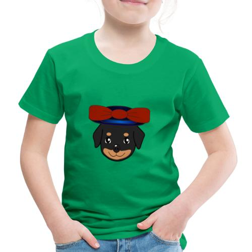 Baby-Rottweiler mit roter Hornkappe - Kinder Premium T-Shirt