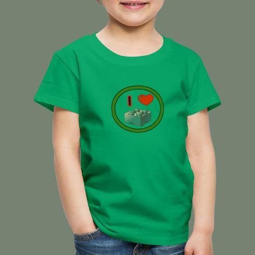 I love building blocks . Ich liebe ... Bausteine . - Kinder Premium T-Shirt