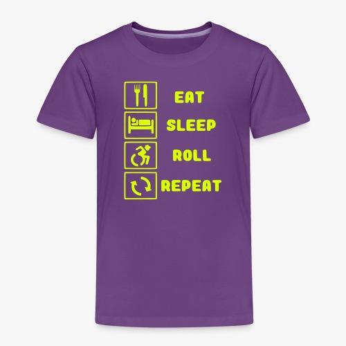 >Eten, slapen, rollen met rolstoel en herhalen 001 - Kinderen Premium T-shirt