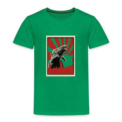 GodZilla red sun rays flare vintage movie poster - Kids' Premium T-Shirt