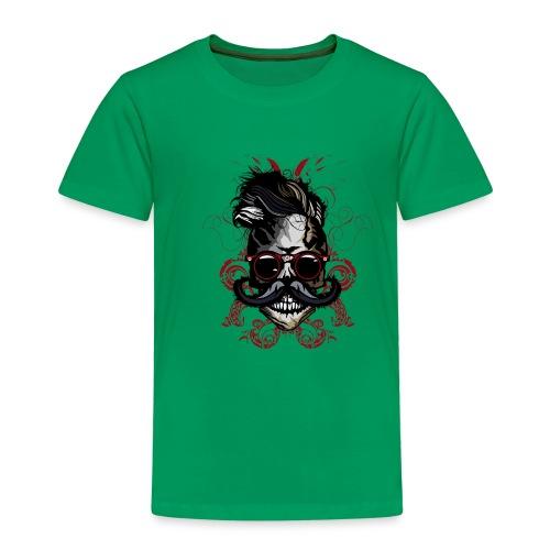 tete de mort hipster fioriture crane skull moustac - T-shirt Premium Enfant