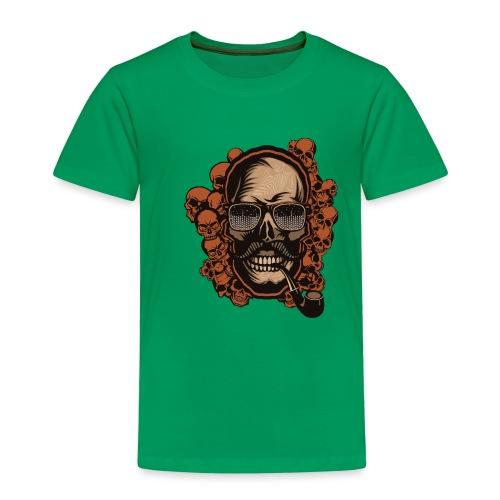 tete de mort hipster skull crane pipe moustache fa - T-shirt Premium Enfant