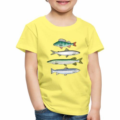 FOUR FISH - Ahven, siika, hauki ja taimen tuotteet - Lasten premium t-paita