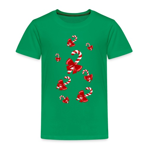 Cannes à sucre de Noël avec Nœuds rouges - T-shirt Premium Enfant