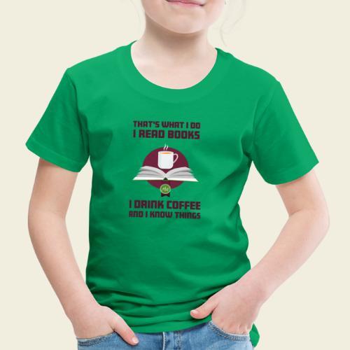 Buch und Kaffee, dunkel - Kinder Premium T-Shirt