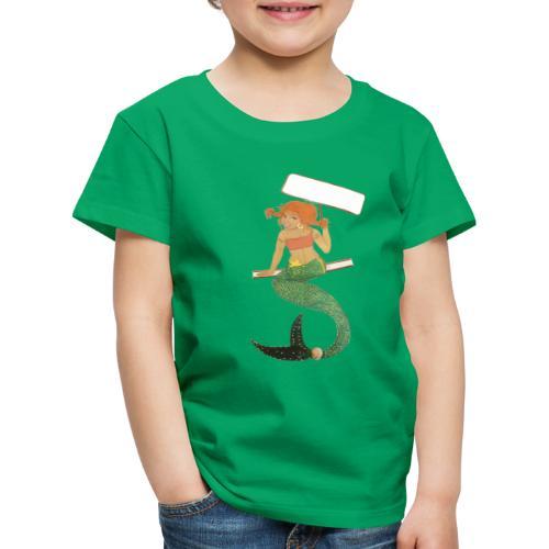 Mermaid on the railing holding up sign - Kinderen Premium T-shirt