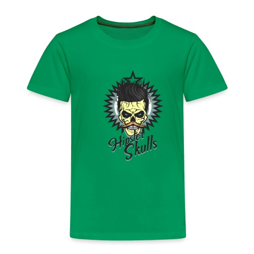 tete de mort hipster skull crane moustache logo co - T-shirt Premium Enfant