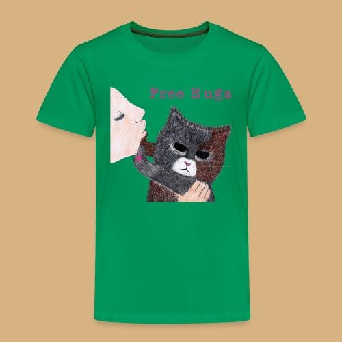 Free Hugs Cat Katze Manga Anime Japan cute comic - Kinder Premium T-Shirt