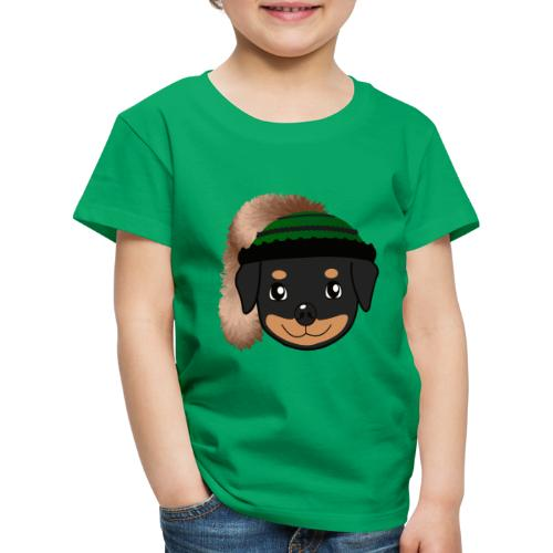 Baby-Rottweiler mit grüner Wadelkappe - Kinder Premium T-Shirt