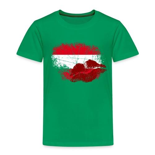 Fahne Österreich Kussmund/Lippen - Fanshirt - Kinder Premium T-Shirt