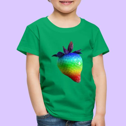 bunte Erdbeere in den Farben des Regenbogens - Kinder Premium T-Shirt