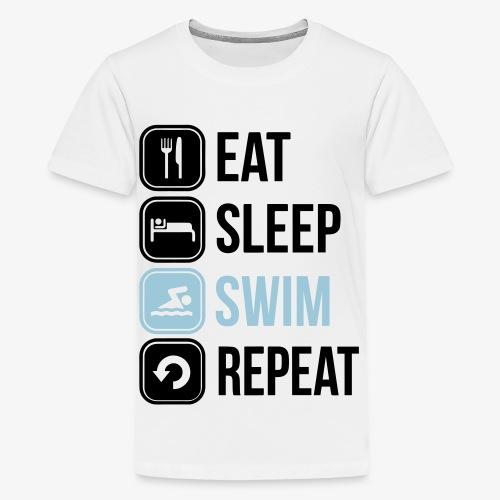 Eat Sleep Swim Repeat - Teenage Premium T-Shirt