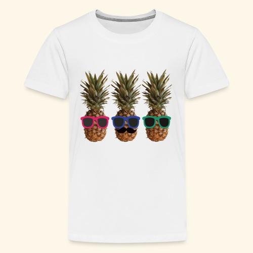 Hipster Ananas mit Sonnenbrillen und Bart - Teenage Premium T-Shirt