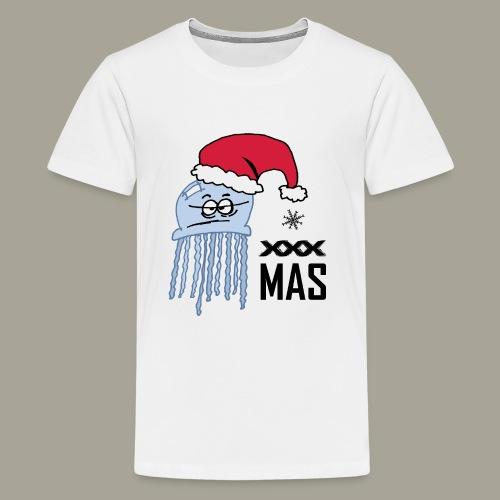 Qualle mit Weihnachtsmütze X MAS - Teenager Premium T-Shirt
