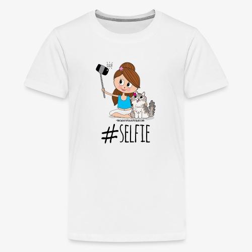 Chica y gato haciéndose foto - Camiseta premium adolescente