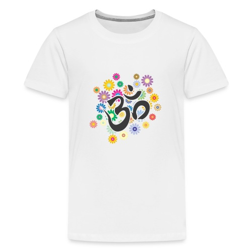 Om Aum Mantra Symbol Flowers - Teenager Premium T-Shirt