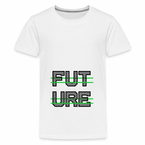 Future Clothing - Green Strips (Black Text) - Teenage Premium T-Shirt
