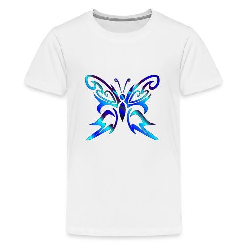 Tribal Weiss- Schmetterling - Teenager Premium T-Shirt