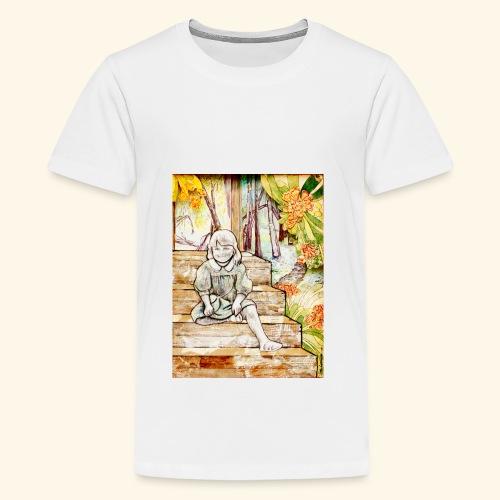 Girl on stairs - Teinien premium t-paita