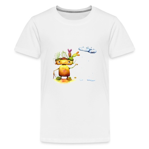 Robot with his plant friends - Teenager Premium T-shirt