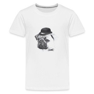 pug with bowler - Teenager premium T-shirt