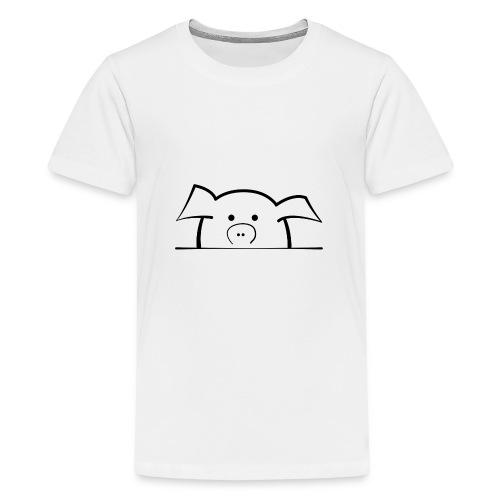 Süßes Schwein schaut schüchtern - Teenager Premium T-Shirt