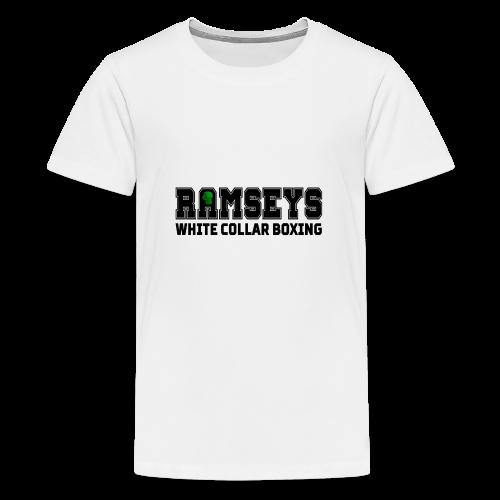 Ramseys White Collar Boxing Black Logo - Teenage Premium T-Shirt