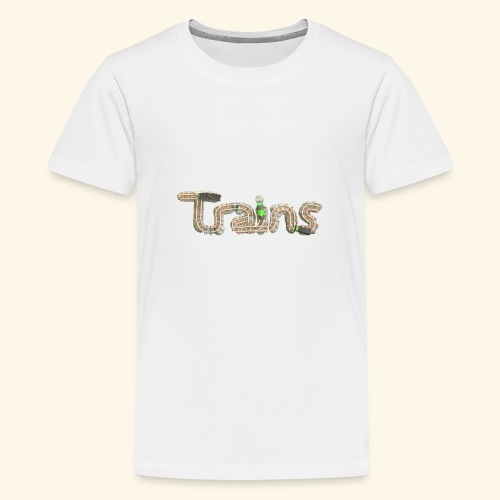 Colourful eagle eye's view of model trains - Teenage Premium T-Shirt