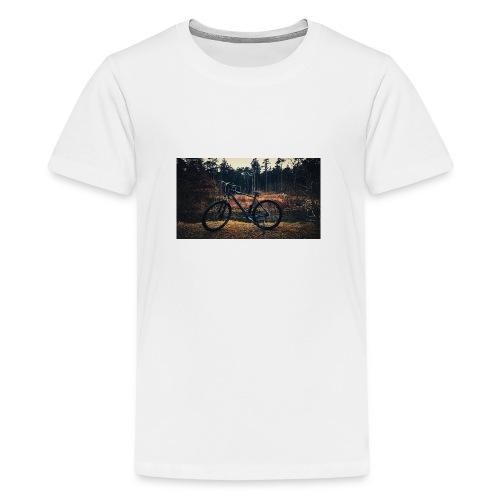 Fahrad am fluss - Teenager Premium T-Shirt
