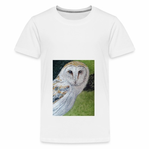 Curious Scottish owl - Teenage Premium T-Shirt