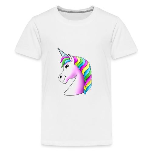 Rosa Einhorn mit Regenbogen-Mähne - Teenager Premium T-Shirt
