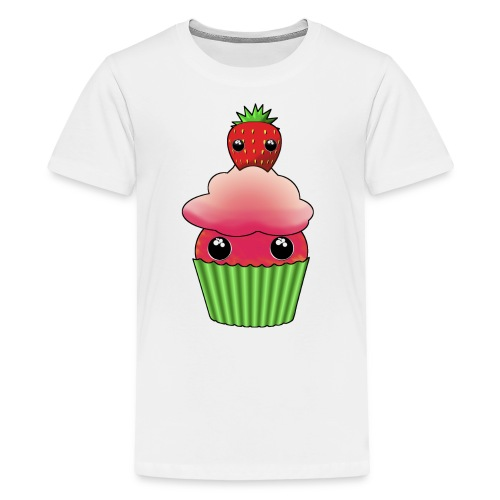 Kawaii cupcake with one strawberry - Premium-T-shirt tonåring