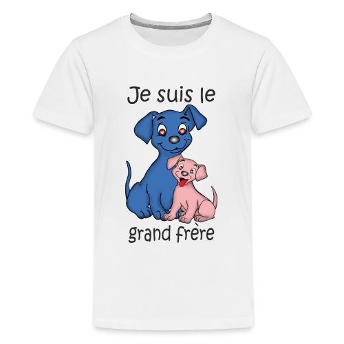 Je suis le grand frere chiot B - T-shirt Premium Ado