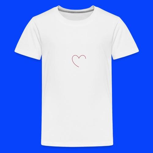t-shirt bianca con cuore - Maglietta Premium per ragazzi