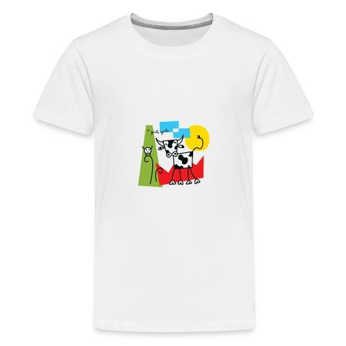 vache-noir-et-blanc et couleurs - T-shirt Premium Ado