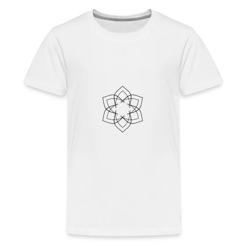 Mandala 6 Blätter schwarz - Teenager Premium T-Shirt