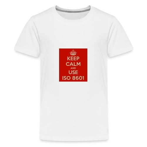 keep calm and use iso 8601 - Premium T-skjorte for tenåringer